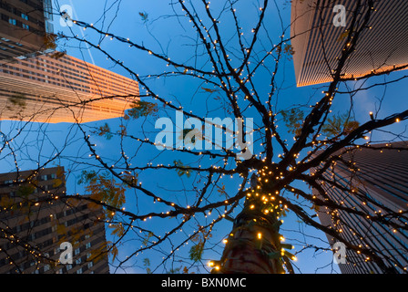 Skyscrapers of Rockefeller Center, looking up at tree lit with holiday white lights, twilight, 6th Avenue, Manhattan - Stock Photo