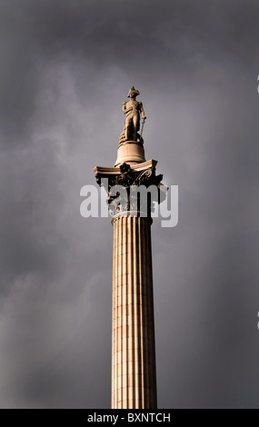 Nelson's Column, Trafalgar Square, The statue of Admiral Nelson in London, Britain, UK - Stock Photo