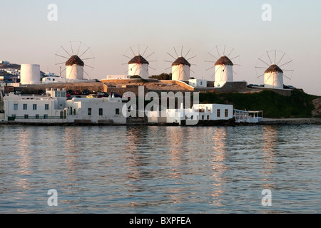 The famous windmills of Mykonos old town, Cyclades - Stock Photo
