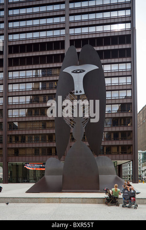 The Chicago Picasso sculpture, Daley Plaza, Chicago, Illinois, USA - Stock Photo