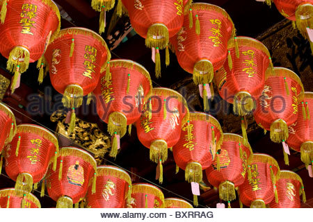 Singapore, Thian Hock Keng Temple, Chinese lanterns in roof void - Stock Photo