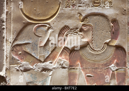 Relief of Horus and Seti in the Temple of Seti I at Abydos, ancient Abdju, Nile Valley Egypt - Stock Photo
