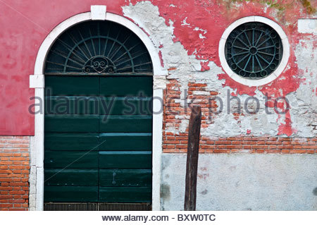 Detail of a palace located in Campo San Vidal with circular window, Venice, Italy - Stock Photo