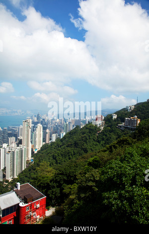 The amazing Hong Kong skyline as seen from above in the day. Victoria harbor harbour and Kowloon - Stock Photo