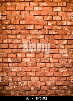 detail of a red brick wall - Stock Photo