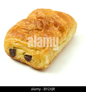 Pain au Chocolate french pastry from low perspective isolated on white. - Stock Photo