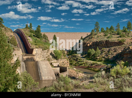 Spillway at El Vado Dam on Rio Chama near Tierra Amarilla, New Mexico, USA - Stock Photo