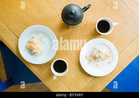 Overhead view of breakfast table - Stock Photo