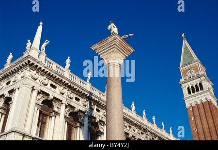 Campanile + Library, Piazzetta San Marco, Venice, Italy, Worldheritage - Stockfoto