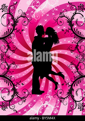 Vector Illustration of couple kissing on Valentine Background with hearts and scrolls. - Stock Photo