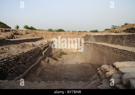 Dholavira, an ancient city, is one of the largest archaeological sites in India, belonging to the Indus Valley Civilization. - Stock Photo