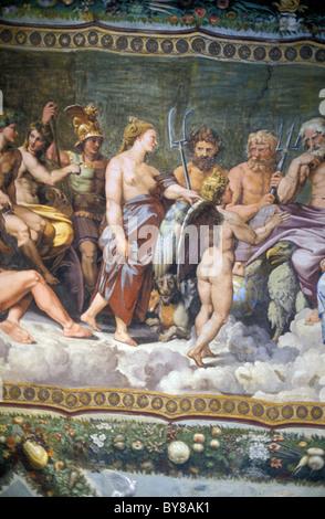 FRESCO OF RAFFAEL, VILLA FARNESINA, MUSEUM, TRAVESTERE, ROME, ITALY - Stock Photo