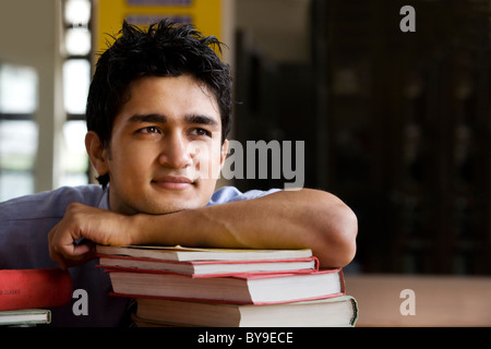 Boy in a school library - Stock Photo