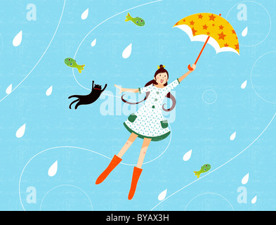 Illustration of a young girl with an umbrella and cat being blown through the air - Stock Photo