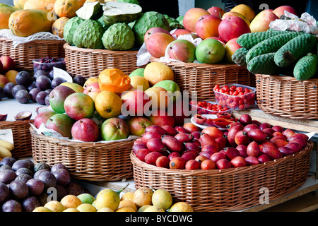 Close-up of a fruit and vegetable stall in Funchal covered market - Stock Photo