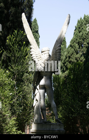 gravestone in protestant cemetery near piramide, rome - Stock Photo