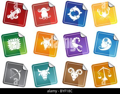 An image of the 12 zodiac symbols. - Stock Photo