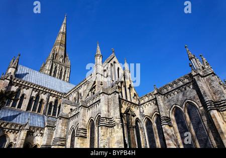 Salisbury Cathedral, Salisbury, Wiltshire, England - Stock Photo