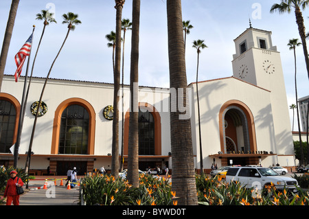 Union Station, Downtown Los Angeles, LA Amtrak station, California. Art Deco. Film location. - Stock Photo