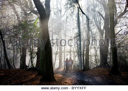 A young couple pushing a stroller in the park - Stock Photo