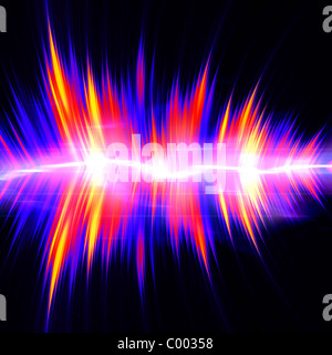 Funky neon glowing audio waveform or graphic equalizer with electric plasma. - Stock Photo