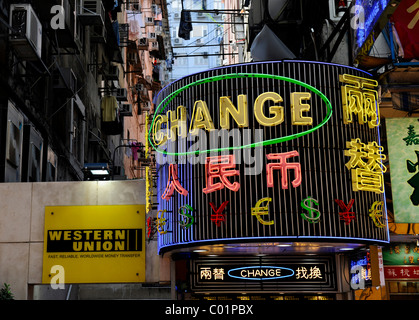 A bureau de change sign advertising the present exchange rate outside stock photo royalty free - Western union bureau de change ...