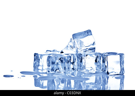 Photo of ice cubes isolated on a white background. - Stock Photo