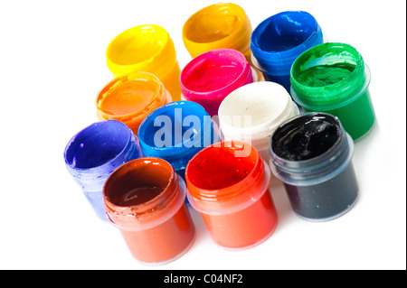 Set of used multicolored watercolor paint in containers on white background - Stock Photo