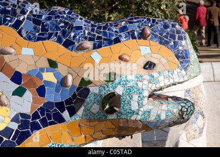 Lizard Fountain in Park Guell Deisgned by Gaudi in Barcelona, Catalonia, Spain - Stock Photo