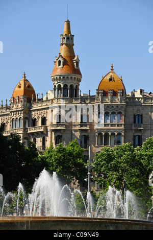 Fountain, Teatre Tivoli theatre, and Hotel Barcelona, Plaza de Catalunya Catalonia square, Barcelona, Catalonia, - Stock Photo