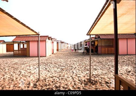 Beach huts on the beach, Lido di Venezia, Venice, Veneto, Italy, Europe - Stock Photo