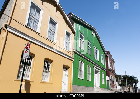 Colorful Houses in Cerro Alegre, Valparaiso, Chile. UNESCO World Heritage. - Stock Photo