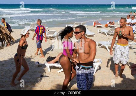 Teenager dancing at Playa del Este, Santa Maria Del Mar, near Havanna Cuba - Stock Photo