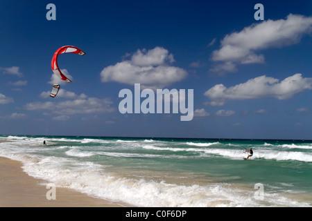 Kite surfer at Playa del Este near Havanna Cuba - Stock Photo