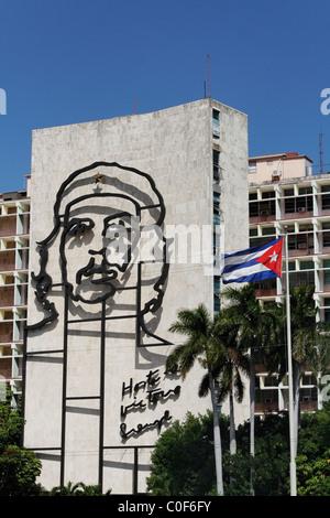 Placa de la Revolucion Square, Che Guevara , Havanna, Cuba, Caribbean - Stock Photo