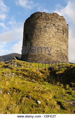 Dolbadarn Castle above Llanberis Gwynedd North Wales UK - Stock Photo