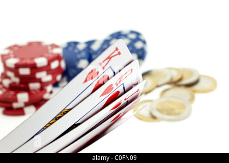 multicolor poker chips, playing cards and coins isolated on white background - Stockfoto