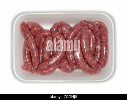 Fresh pork sausages in tray cutout - Stockfoto