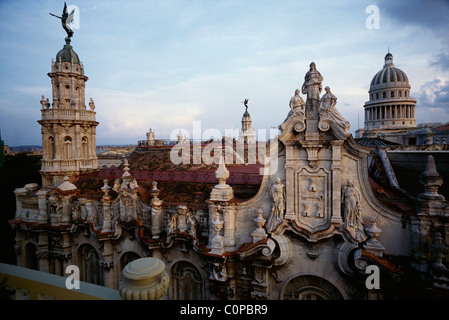 Havana. Cuba. View across the rooftop of the Gran Teatro de la Habana, & the dome of the Capitolio (right). - Stock Photo