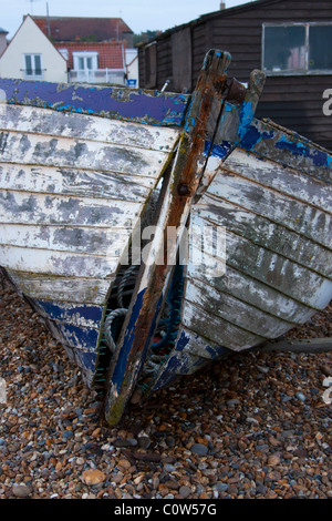 Wooden fishing boat with split bow - Stockfoto
