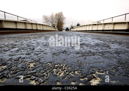 close up of tarmac road Scotland uk - Stock Photo