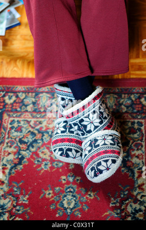 Elderly Lady Wearing Slippers. - Stock Photo