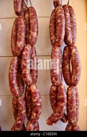 "Syros Sausages ""skordoloukanika"" (sausages with garlic), Syros Island [ Σύρος ] , Greek Cyclades Islands - Stock Photo"
