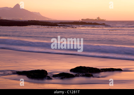 Bloubergstrand beach near Cape Town, in the left rear Table Mountain, Cape Town, Western Cape, South Africa, Africa - Stock Photo