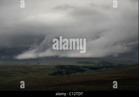 Low hanging cloud over Wicklow Mountains, Ireland - Stock Photo