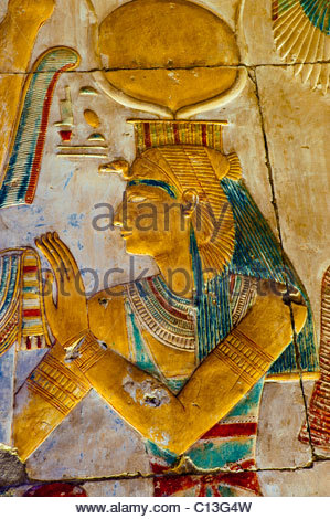 Hieroglyphics, Temple of Seti I, Abydos, Egypt - Stock Photo