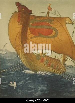 THE DRAGON SHIP. Viking ship at sea. Etching by John Taylor Arms 1922. - Stock Photo