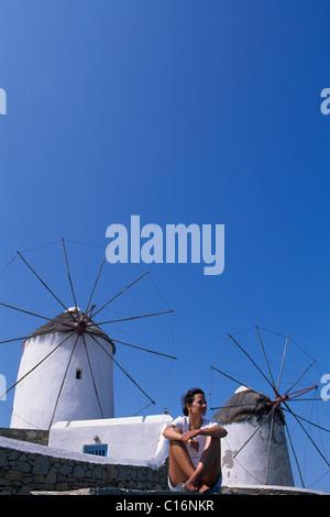 Windmills, city of Mykonos, Mykonos, Cyclades, Greece, Europe - Stock Photo