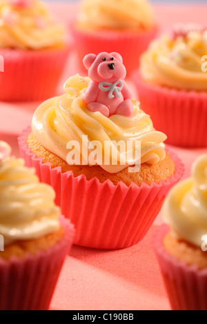 PINK TEDDY BEAR CUPCAKES - Stock Photo
