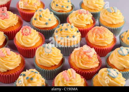 MIXED BABY SHOWER CUPCAKES - Stock Photo